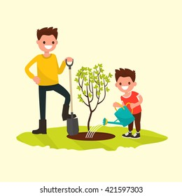 Father and son planting a tree. Vector illustration of a flat design