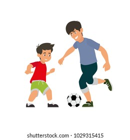 father and son play football. vector illustration isolated on white background.