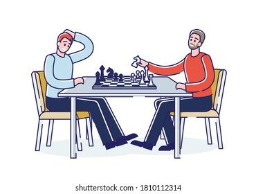 Father and son playing chess. Dad spending time with adult son at game. Two men competing in chess together. Leisure activity concept. Cartoon linear vector illustration