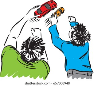 father and son playing little cars vector illustration