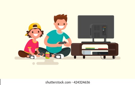Father and son playing video games on a game console. Vector illustration of a modern flat design
