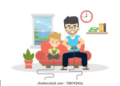 Father and son playing video games together.