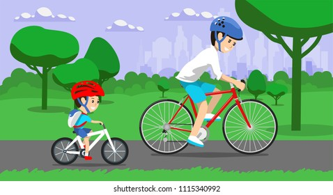 Father and son riding bikes in town park. Vector illustration