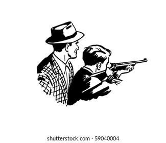 Father And Son Shooting - Retro Clip Art