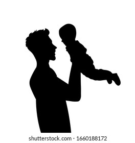 Father and son silhouette vector illustration. Father's day concept.