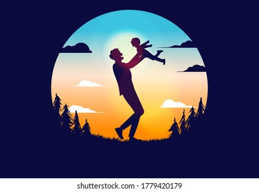 Father and son silhouette vector illustration. Man lifting up kid with sky, clouds and forest in background. Parenting concept.