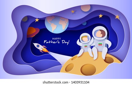 Father and son in space suits sitting on the Moon. Happy father's day card. Paper cut style. Vector illustration