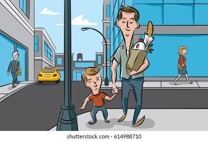 A father and son spend time together shopping and running errands.