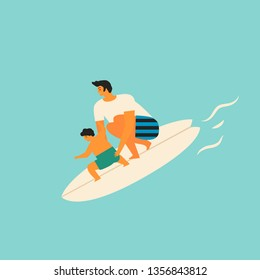 father and son surfing together illustration in vector. Cartoon funny characters. Family fun concept.