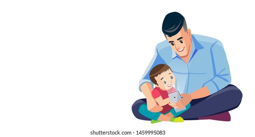 Father and son taking selfie cute cartoon isolated vector illustration scene. Dad and son Good Time Together, Best Dad. Happy family. Concept Fatherhood child-rearing.
