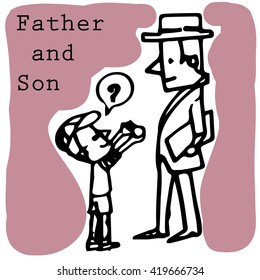 father and son vector character