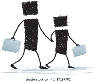 Father and son walk together, isolated on white background. Father and son walk hand in hand. Each carries his briefcase. An illustration to show the reconciliation of work and family.