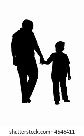 Father and son walking silhouette