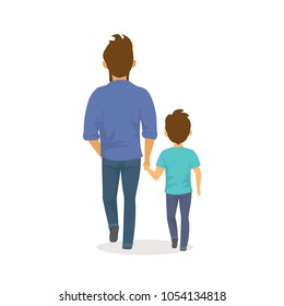father and son walking together holding hands,happy  fathers day backside view isolated vector illustration scene