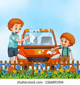 Father and son washing car illustration