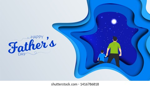 Father and son watching the blue sky view from hands. Happy Father's Day Calligraphy greeting card. Vector illustration.
