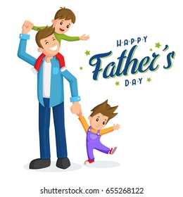 Father and sons. Father's day card, background
