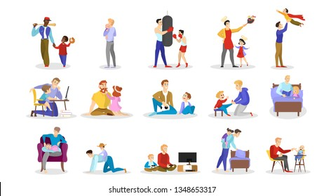 Father spend time with children set. Man play with son and daughter. Parent and kid happy together. Outdoor activity. Dad and boy training. Isolated vector illustration in cartoon style
