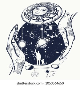 Father teaches the son to space riddles tattoo. Human and Universe. Symbol solar system, science, religion, astrology, astronomy. Boundless Universe, planets and stars t-shirt design