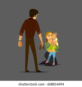 The father threatened violence to his wife with a child. Vector Illustration of a flat design.