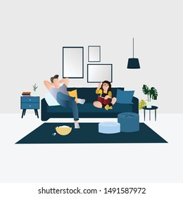 Father and Time Spending Time Illustration. Happy Families Spending Time Together at Home. Flat Cartoon Vector Illustration in Colored Style. - Vector
