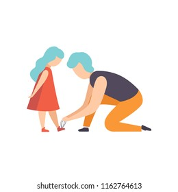 Father tying the laces of his little daughter, dad taking care of his child vector Illustration on a white background