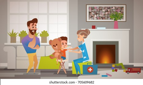 The father is very worried and afraid for his child. An elderly female doctor of a child measures the boy's temperature. Family doctor at home. Scattered toys