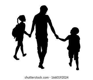 Father walking with children silhouette vector illustration. Father's day concept.