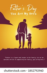 Father walking with son after work vector illustration. Holding hands. Father's day you are my hero Quotes or phrases for fathers day. Fathers day, happy birthday gift. Walking time fun and leisure.