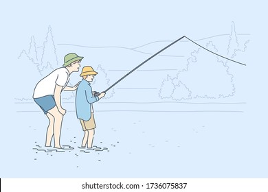 Fatherhood, fishing, childhood, training, leisure concept. Young man father teaching boy kid son teenager catching fish on lake river. Family care fathers day and active summer recreation illustration