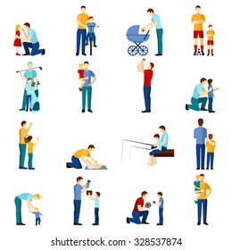 ?olor  fatherhood flat icons set with father playing with children  isolated vector illustration.