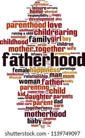 Fatherhood word cloud concept. Vector illustration