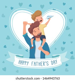 Father's day background with illustration and lettering