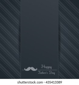 Father's Day background. Mustache and greeting inscription - Happy Father's Day. Logo and elegant lettering on a gray background. Vector illustration