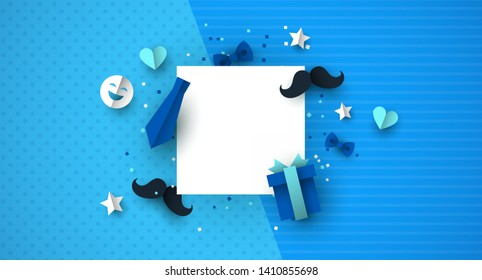 Father's Day background template concept with blue color paper cut icons. Ideal for male product sale or special event.