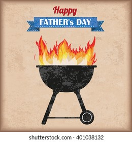 Father's Day barbecue with fire on the vintage background. Eps 10 vector file.