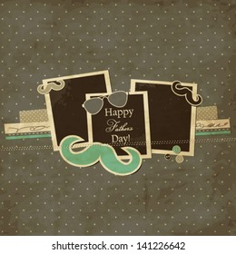 Father's Day card, mustache and sunglasses scrap card with photo frames