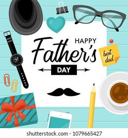 Fathers day concept with businessman desk objects. Vector illustration