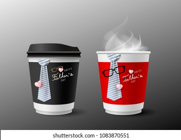Father's day concept design of hot coffee cup and necktie with smoke on gray background vector illustration