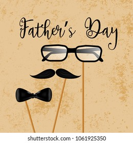 Father's day design and illustration with spectacles, mustache and bow tie prop. Vector template design for father's day.