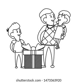 fathers day family celebration, father with children and gifts cartoon vector illustration graphic design