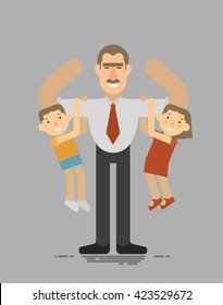Fathers day, A father holding his son and daughter, the best father, a good father amuses your children flat style