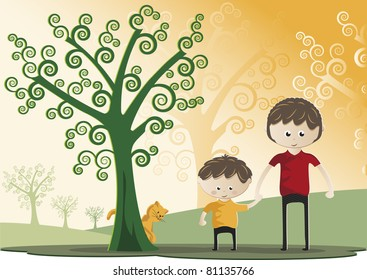 Father's Day. Father and son walking through a forest together. It also has a kitten. Celebration of Father's Day.