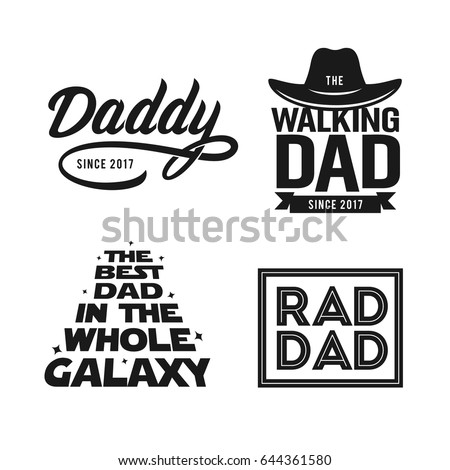 3b31792a Fathers day gift for dad t-shirt design set. Funny quotes about daddy for  prints, posters. Vector vintage illustration. - Vector