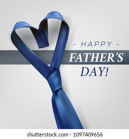 Fathers day gift post greeting card banner poster with relistic satin blue necktie knot. Male tie design.Symbol of father and son.Heart shaped symbol of love and respect.