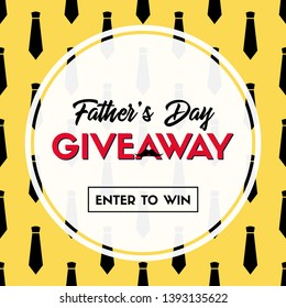 Father's day giveaway. Vector banner template for social media. Enter to win