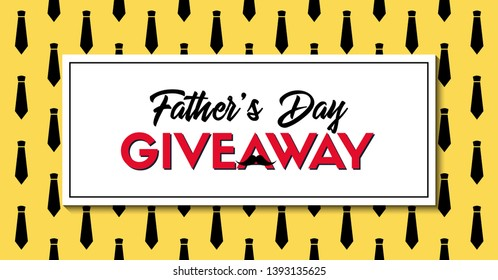 Father's Day giveaway vector banner with neckties yellow pattern