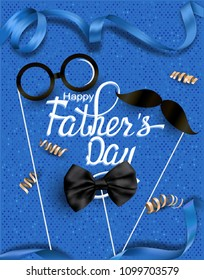 Father's Day greeting card with carnival sticks and serpentine. Vector illustration