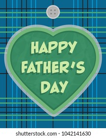 """Father's Day greeting card design with a plaid background and a heart with """"happy father's day"""" text in the center. Eps10"""