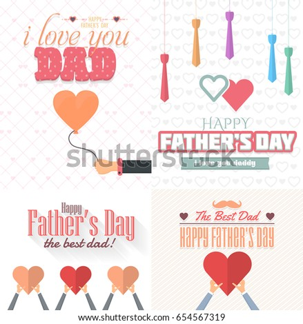 Fathers day greeting card typographic text stock vector royalty fathers day greeting card typographic text flat style badge vector design announcement and celebration m4hsunfo